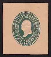 U320 2c Green on Oriental Buff, die 3, Mint Cut Square, 40 x 45