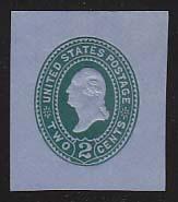 U321 2c Green on Blue, die 3, Mint Cut Square, 36 x 42 u0321.7a