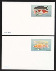 UX555 & UX556 28c Koi Fish Mint Postal Cards