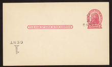 """UX32d UPSS# S44-29g, New York """"Small Cent"""" Plus Inverted Surcharge LL, Mint Postal Card"""