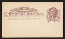 UX8 UPSS# S7 1c Thomas Jefferson, Brown on Buff Clean Face Postal Card