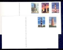 UX395-99 UPSS# 409-13 23c Southeastern Lighthouses Mint Postal Cards