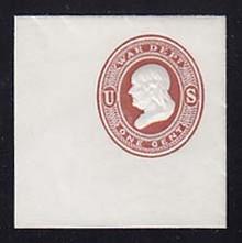 UO18 1c Dark Red on White, Mint Full Corner, 46 x 47