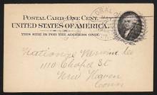 UX15 UPSS# S19 1c John Adams, Black on Buff, Library Used Postal Card