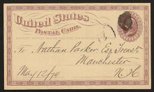 UX3 UPSS# S2 1c Liberty Head, Small Watermark Used Postal Card