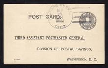 UZ1 UPSS# O1 1c Official Mail, black, Used Postal Card, Stone Creek, OH