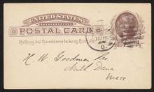 """UX8 UPSS# S7i 1c Thomas Jefferson, Damaged """"C"""", Used Postal Card"""