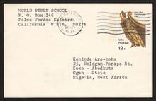 UX67 UPSS# S84 12c Ship's Figurehead Postal Card, Used to Nigeria