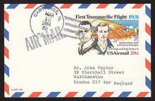 UXC19 UPSS# SA18 28c First Transpacific Flight Postal Card, Used to England