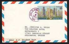 UXC23 UPSS# SA22 33c Ameripex '86, Chicago Postal Card, Used to Sweden