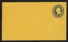 U111 UPSS # 257 1c Dark Blue on Orange, die 1, Mint Entire