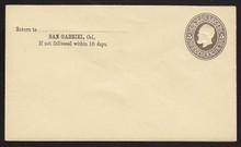 U223 UPSS # 492-6 5c Brown on Amber, Mint Entire, CC