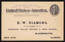 UX12 UPSS# S14b2 1c Thomas Jefferson, Black on Buff Unused Postal Card