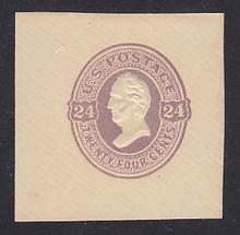 U101 24c Purple on Cream, Mint Cut Square, 44 x44