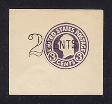U446 2c on 3c Dark Violet on White, die 1, Mint Full Corner, 55 x 50