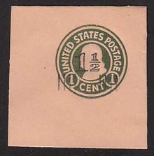 U517 1 1/2c on 1c Green on Oriental Buff, die 1, Mint Full Corner, 50 x 50