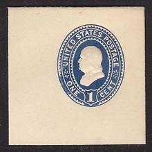 U295 1c Dark Blue on White, Mint Full Corner