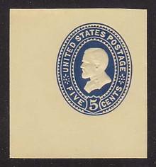 U331 5c Blue on Amber, die 1, Mint Cut Square, 47 x 47