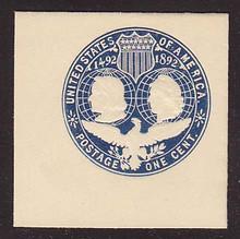 U348 1c Blue on White, die 2, Mint Full Corner