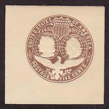 U350 5c Brown on White, die 1, Mint Full Corner