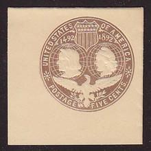 U350 5c Brown on White, die 2, Mint Full Corner