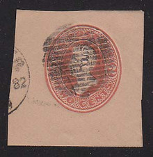 U152 2c Vermillion on Fawn, die 6, Used Cut Square