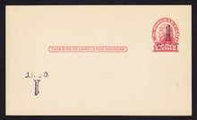 UX33 UPSS# S45-11g, Cleveland Surcharge plus Surcharge Inverted LL, Mint Postal Card