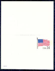 UY38 UPSS# MR48 14c Stars & Stripes Mint UNFOLDED
