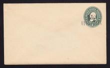 U488, UPSS #3080 1 1/2c on 1c Green on White, Mint Entire