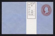 U280 UPSS# 816-6 2c Brown on Blue, die 1, Mint Entire
