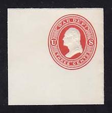 UO34 3c Vermillion on White, Mint Full Corner, 50 x 50