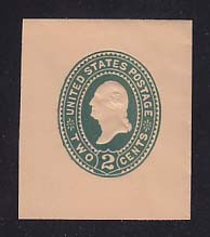 U320 2c Green on Oriental Buff, die 3, Mint Cut Square, 40 x 47