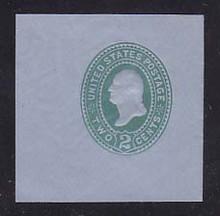U321 2c Green on Blue, die 3, Mint Cut Square, 50 x 50
