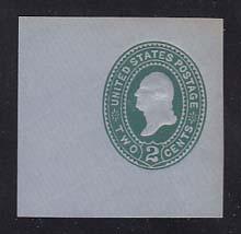 U321 2c Green on Blue, die 3, Mint Cut Square, 48 x 48
