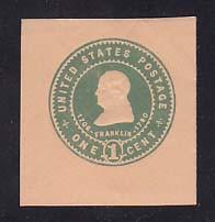 U381 1c Green on Oriental Buff, Mint Cut Square
