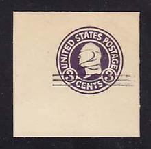 U448 2c on 3c Dark Violet on White, die 1, Mint Cut Square