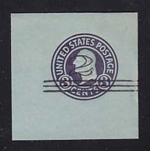 U451c 2c on 3c Dark Violet on Blue, die 6, Mint Full Corner, 50 x 50