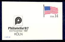 UX117 UPSS# S134b 14c Stars & Stripes, PHILATELIA '87 overprint, Mint Postal Card