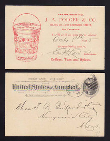 UX12 San Francisco, California SALESMAN'S Calling Card, J.A. Folger & Co., Baking Powder