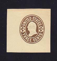 U61 3c Brown on Buff, Mint Cut Square, 43 x 47