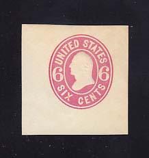 U62 6c Pink on White, Mint Cut Square, 39 x 41