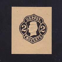 W51 2c Black on Buff, Mint Cut Square, 35 x 41