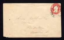 U7 UPSS # 11 3c Red on White, die 4, Used Entire, Misplace stamp-Far UR. fualt LL corner