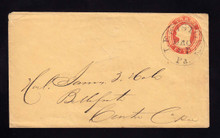 U8 UPSS # 12 3c Red on Buff, die 4, Used Entire, Lewistown, PA