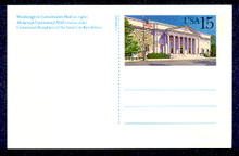 UX151 UPSS# S164 15c Constitution Hall Picture Mint Postal Card