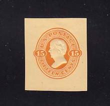 U98 15c Red Orange on Cream, Mint Cut Square, 35 x 40