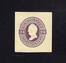U100 24c Purple on Amber, Mint Cut Square, 34 x 37