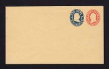 U29 UPSS # 60 3c Red & 1c Blue on Buff, Mint Entire