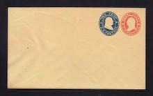 U29 UPSS # 60 3c Red & 1c Blue on Buff, Mint Entire, Light wrinkle at left side