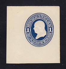 U108 1c Dark Blue on White, die 1, Mint Cut Square, 46 x 48